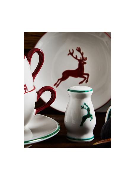 Saliera dipinta a mano Gourmet Grüner Hirsch, Ceramica, Verde, bianco, Alt. 9 cm