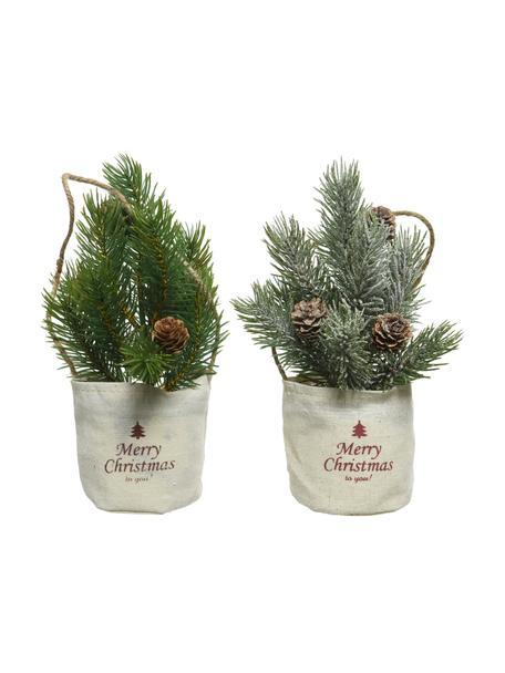 Decoratieve mini kerstbomenset Mibam, 2-delig, Groen, bruin, beige, Ø 8 x H 22 cm