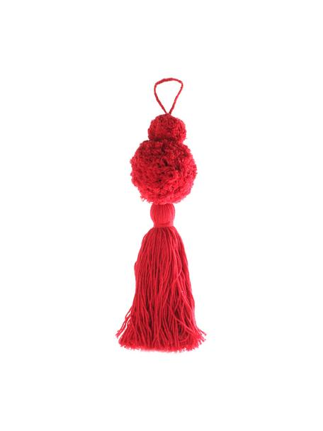Ciondolo Pompon, 2 pz., Cotone, Rosso, Ø 8 x Alt. 37 cm