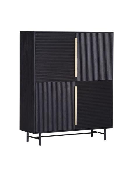 Acaciahouten dressoir Mamba met geribde voorzijde, Frame: gelakt acaciahout, Poten: gelakt metaal, Zwart, 115 x 140 cm