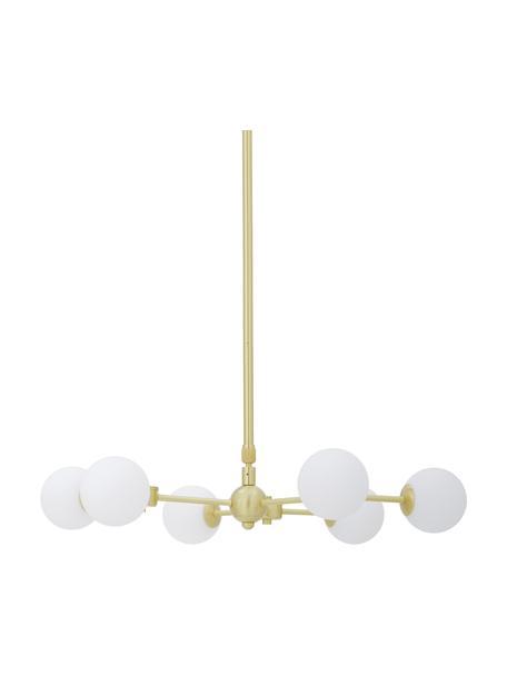 Lampada a sospensione dorata Aurelia, Paralume: vetro opale, Baldacchino: metallo ottonato, Bianco, ottone, Ø 61 x Alt. 78 cm