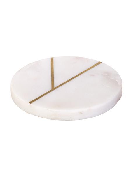 Marmeren onderzetters Marek met goudkleurige details, 4 stuks, Marmer, Gemarmerd wit, goudkleurig, Ø 10 x H 1 cm
