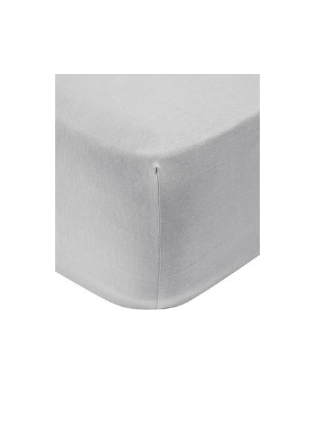 Hoeslaken Lara in lichtgrijs, jersey-elastaan, 95% katoen, 5% elastaan, Lichtgrijs, 90 x 200 cm