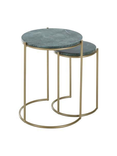 Komplet stolików pomocniczych z marmuru Ella, 2 elem., Blaty: zielony marmur Stelaże: odcienie złotego, matowy, Komplet z różnymi rozmiarami