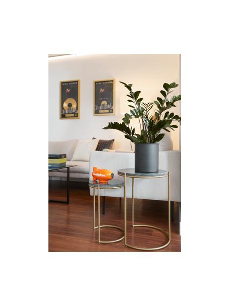 Marmor-Beistelltisch-Set Ella, 2-tlg., Grüner Marmor, Goldfarben, Set mit verschiedenen Grössen