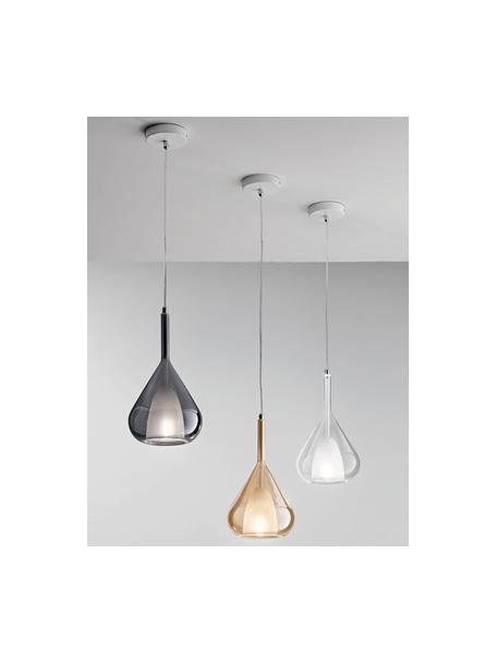 Lámpara de techo pequeña Lila, Pantalla: vidrio, Fijación: metal cromado, Anclaje: metal recubierto, Cable: plástico, Transparente, Ø 20 x Al 35 cm