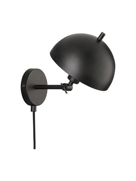 Retro-Wandleuchte Kia mit Stecker, Lampenschirm: Metall, beschichtet, Schwarz, 20 x 25 cm