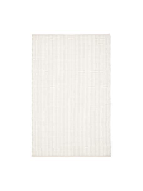 Tappeto in lana tessuto a mano color crema Amaro, 38% lana, 22% poliestere, 20% cotone, 20% poliammide, Bianco crema, Larg. 120 x Lung. 180 cm (taglia S)