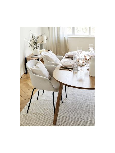 Tappeto in lana color crema tessuto a mano Amaro, Retro: 100% cotone Nel caso dei , Bianco crema, Larg. 120 x Lung. 180 cm (taglia S)