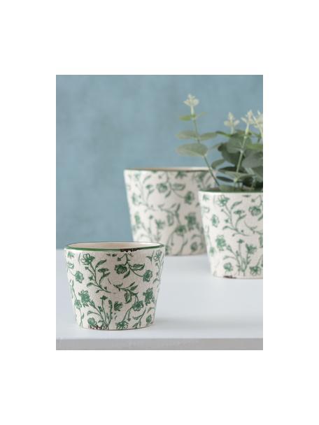 Handgemaakte plantenpottenset Silka, 3-delig, Keramiek, Groen, Set met verschillende formaten