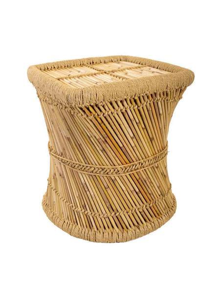 Zewnętrzny stolik pomocniczy z drewna bambusowego Ariadna, Drewno bambusowe, lina, Brązowy, S 48 x G 43 cm