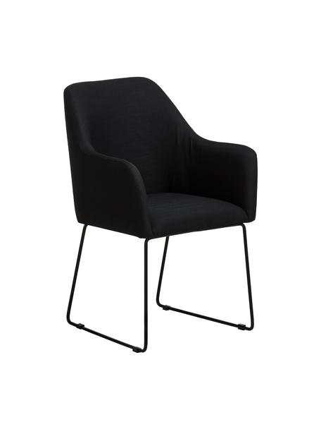 Armstoel Isla in zwart, Bekleding: polyester, Poten: gepoedercoat metaal, Geweven stof zwart, poten zwart, B 58 x D 62 cm