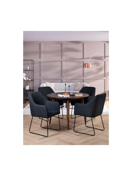 Sedia con braccioli Isla, Rivestimento: poliestere Con 50.000 cic, Gambe: metallo verniciato a polv, Tessuto nero, gambe nere, Larg. 58 x Prof. 62 cm