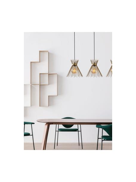 Grote design hanglamp Kirpi in messing, Lampenkap: gecoat metaal, Baldakijn: gecoat metaal, Messingkleurig, zwart, B 104 x D 30 cm