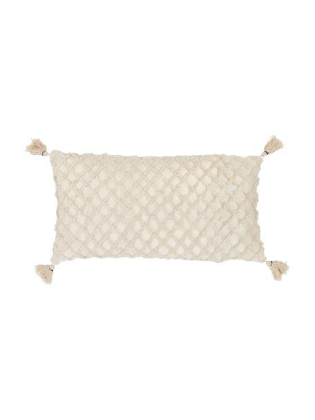 Federa arredo con motivo a rilievo Royal, 100% cotone, Bianco latteo, Larg. 30 x Lung. 60 cm