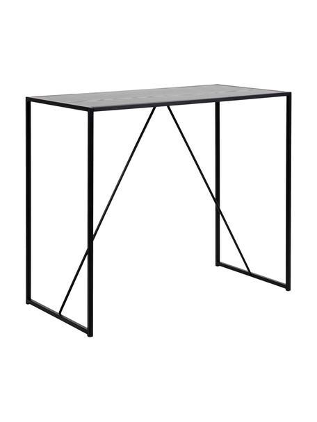 Tavolo da bar in legno e metallo Seaford, 120x60 cm, Metallo, melamina, legno di frassino, Nero, Larg. 120 x Prof. 60 cm