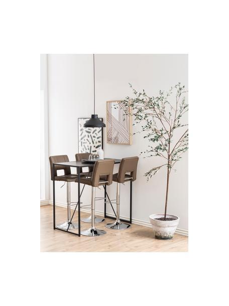 Bartafel Seaford van hout en metaal, Gepoedercoat metaal, melamine, essenhout, Zwart, B 120 x D 60 cm