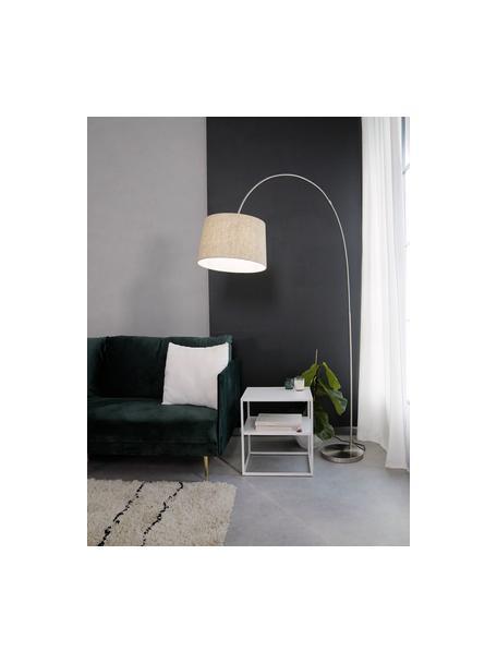 Lámpara arco grande Laurence, Pantalla: mezcla de algodón, Cable: plástico, Beige, plateado, Ø 40 x Al 188 cm