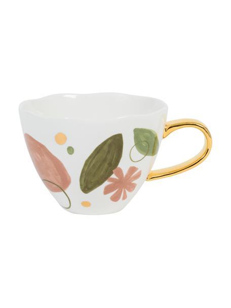 Beschilderde mok Good Morning Expressive met goudkleurig handvat, Beenderporselein, Wit, roze, groen, goudkleurig, Ø 11 x H 9 cm