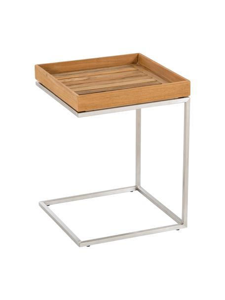Mesa auxiliar para exterior con bandeja extraíble Pizzo, Tablero: madera de teca maciza ace, Estructura: acero inoxidable, lijado, Teca, acero inoxidable, An 40 x Al 52 cm