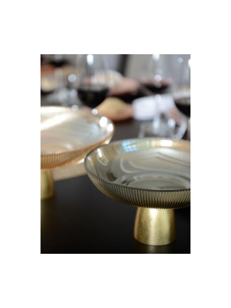Bol decorativo Luster, Bol: vidrio, Marrón transparente, dorado, Ø 25 cm