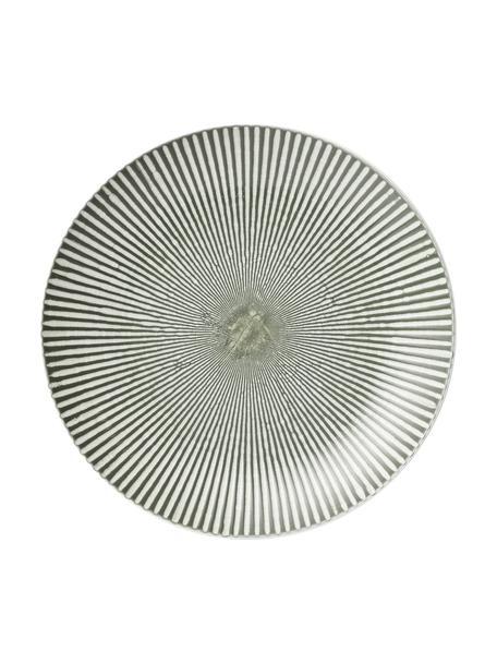 Speiseteller Abella in Grün/Weiß mit Strukturmuster, 2 Stück, Keramik, Grün, Weiß, Ø 27 x H 3 cm