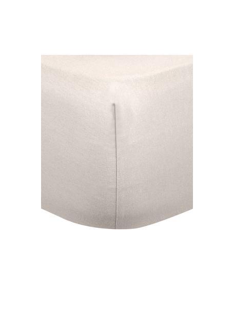 Flanellen hoeslaken Biba in beige, Weeftechniek: flanel Flanel is een knuf, Beige, 90 x 200 cm