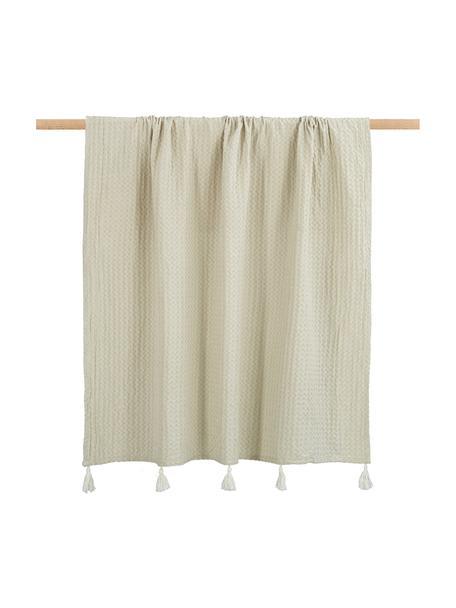 Pled z piki z chwostami Gopher, 100% bawełna, Złamana biel, S 125 x D 150 cm