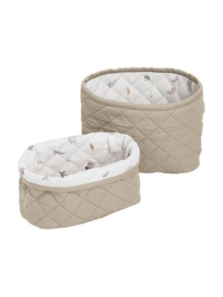 Set de cestas Fawn, 2pzas., Tapizado: 100%algodón ecológico, c, Blanco, marrón, beige, Set de diferentes tamaños