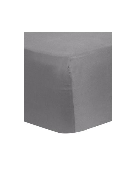 Spannbettlaken Comfort in Dunkelgrau, Baumwollsatin, Webart: Satin, leicht glänzend, Dunkelgrau, 90 x 200 cm