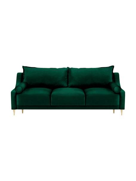 Sofá cama Leo (3plazas), con espacio de almacenamiento, Tapizado: terciopelo de poliéster A, Patas: metal con pintura en polv, Verde botella, An 215 x F 94 cm