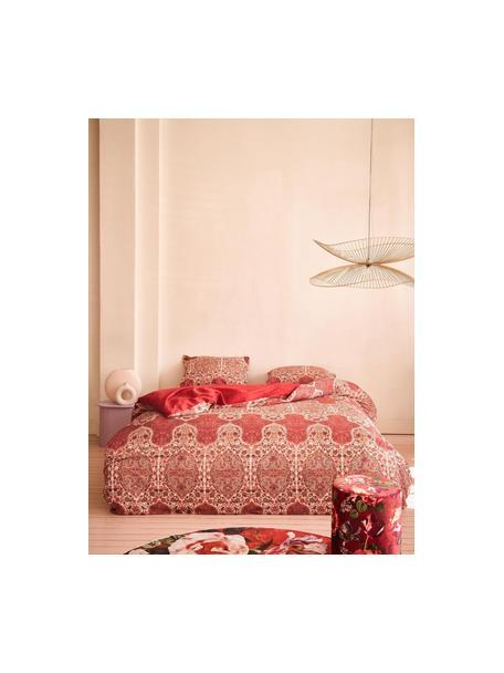 Gemusterte Baumwollsatin-Bettwäsche Giulia, Webart: Satin Fadendichte 200 TC,, Rot, Mehrfarbig, 135 x 200 cm + 1 Kissen 80 x 80 cm