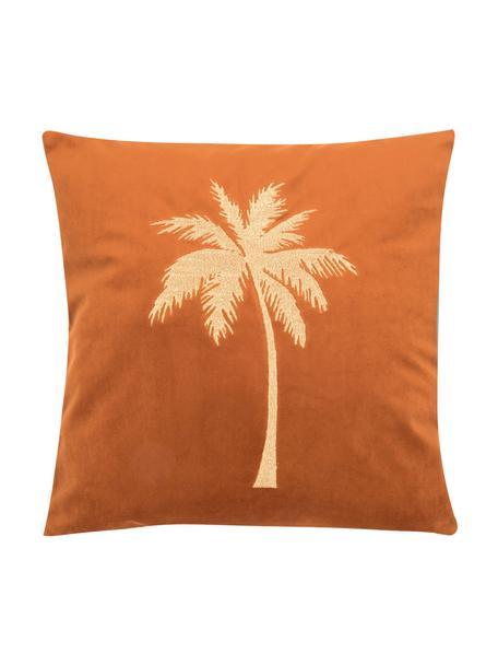 Glanzende fluwelen kussenhoes Palmsprings met borduurwerk, 100% polyester fluweel, Oranje, goudkleurig, 40 x 40 cm