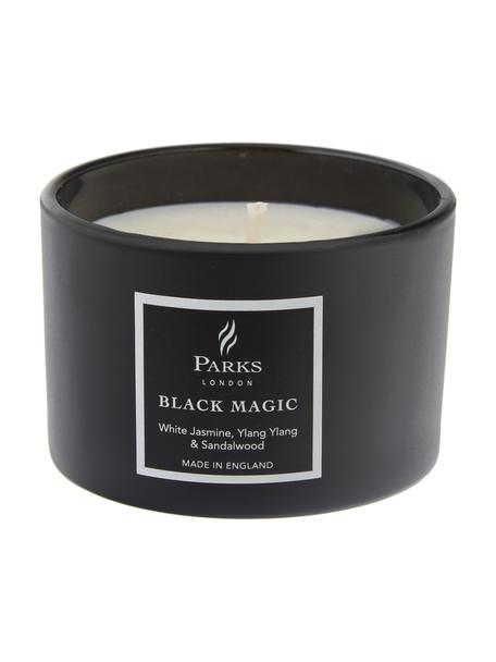 Duftkerze Black Magic (Weißer Jasmin, Ylang Ylang & Patchouli), Behälter: Glas, Schwarz, Weiß, Ø 7 x H 5 cm