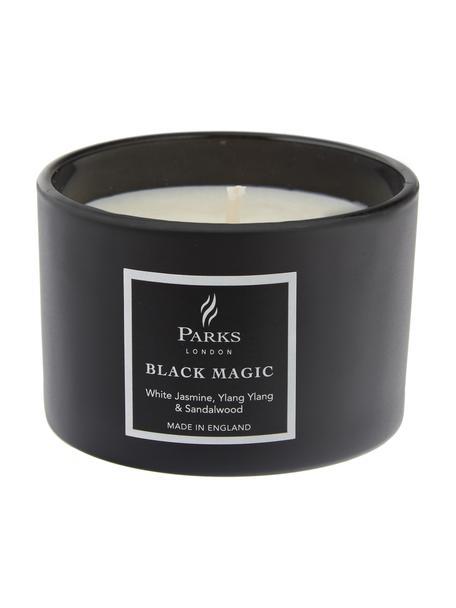 Duftkerze Black Magic (Weisser Jasmin, Ylang Ylang & Patchouli), Behälter: Glas, Schwarz, Weiss, Ø 7 x H 5 cm