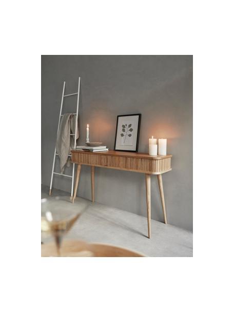 Houten bijzettafel Barbier met opbergruimte, Frame: MDF, essenhoutfineer, Frame: bruin Schuifdeuren en poten: houtkleurig, 120 x 35 cm