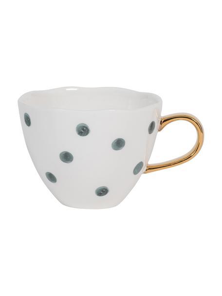 Gestippelde Good Morning-mok met gouden handvat, Keramiek, Wit, blauw, Ø 11 x H 8 cm