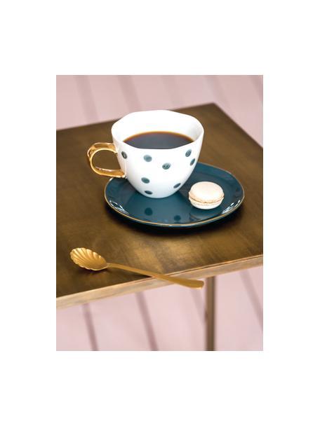 Gestippeld kopje Good Morning met goudkleurig handvat, Keramiek, Wit, blauw, Ø 11 x H 8 cm