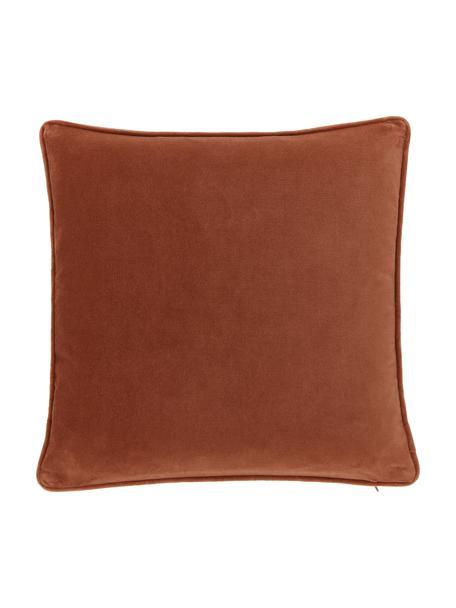 Federa arredo in velluto rosso ruggine Dana, 100% velluto di cotone, Rosso, Larg. 40 x Lung. 40 cm
