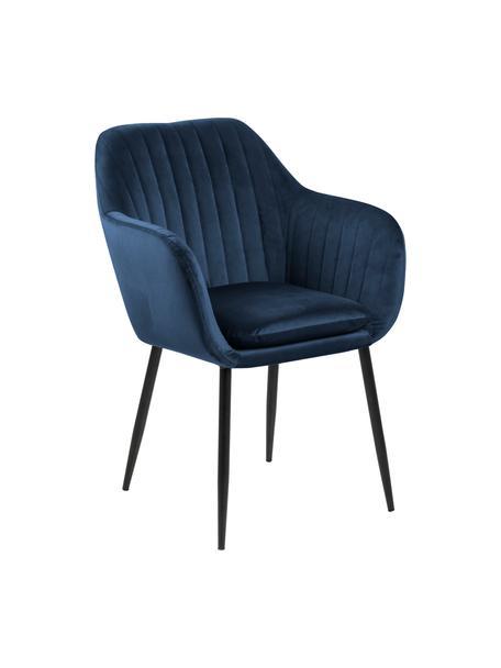 Krzesło z podłokietnikami z aksamitu i metalowymi nogami Emilia, Tapicerka: aksamit poliestrowy Dzięk, Nogi: metal lakierowany, Aksamit ciemny niebieski, czarny, S 57 x G 59 cm