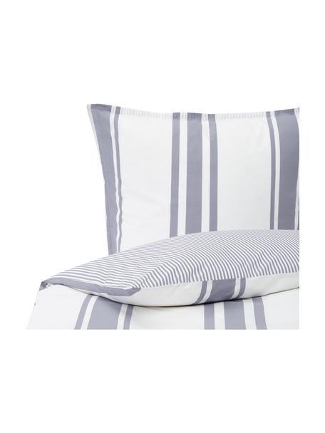 Dwustronna pościel z organicznego perkalu z efektem sprania Kinsley, Niebieski, biały, 135 x 200 cm + 1 poduszka 80 x 80 cm