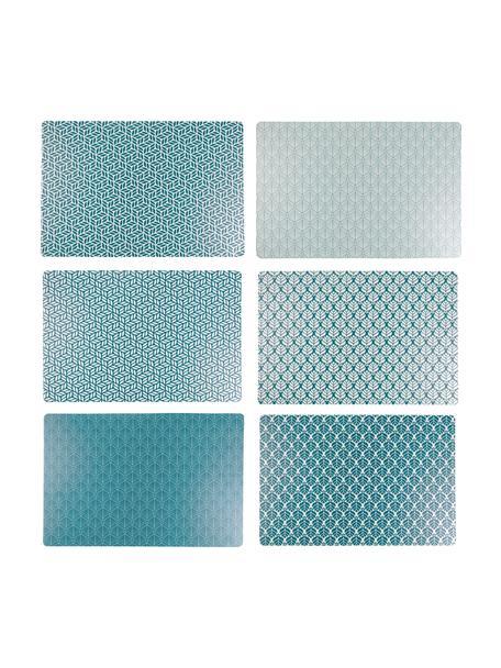 Kunststoffen placemats Bali Leaf, 6-delig, PVC-kunststof, Blauw, wit, 30 x 45 cm