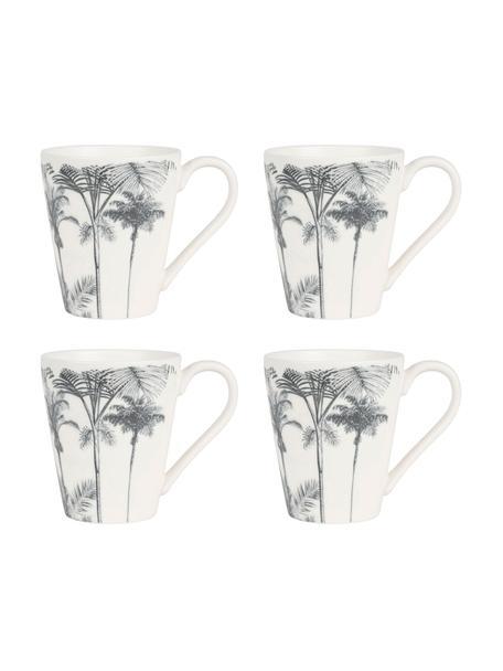 Mokken Papaye, 4 stuks, Porselein, Wit, zwart, Ø 10 x H 11 cm