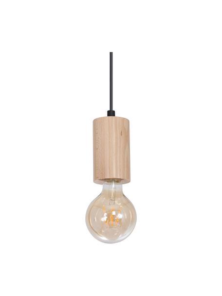 Mała lampa wisząca z drewna Lines, Drewno naturalne, czarny, Ø 6 cm x W 11 cm