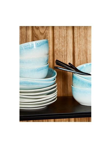 Set van 2 handgemaakte kommen Amalia met effectief glazuur, Keramiek, Lichtblauw, crèmewit, Ø 14 x H 7 cm