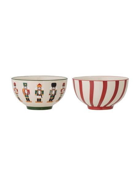 Schälchen Jolly mit Nussknacker-Motiven, 2er-Set, Steingut, Rot, Weiß, Ø 14 x H 8  cm