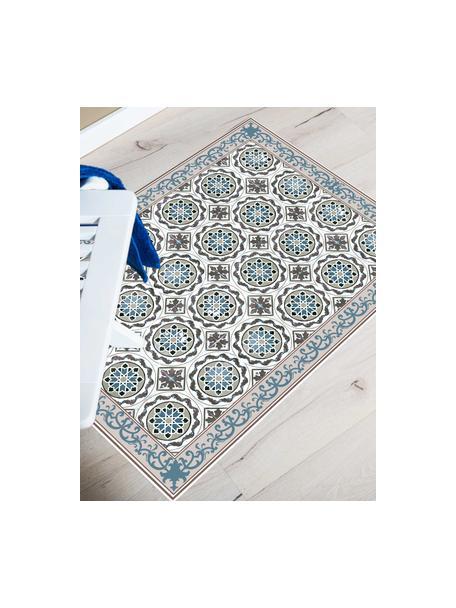 Vlakke vinyl vloermat Selina in beige / blauw, antislip, Recyclebaar vinyl, Beige, bruin, blauw, 65 x 85 cm