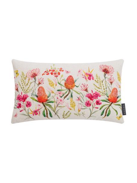 Kussenhoes Caleo met bloemmotief, 85% linnen, 15% katoen, Beige, multicolour, 30 x 50 cm