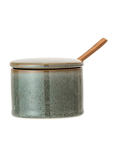 Steingut Zuckerdose Pixie mit Holzlöffel, Dose: Steingut, Löffel: Akazienholz, Grüntöne, Ø 8 x H 6 cm