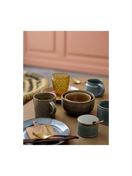 Keramische suikerpot Pixie met houten lepel, Pot: keramiek, Lepel: acaciahout, Groentinten, Ø 8 x H 6 cm